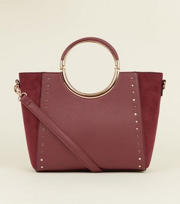 Burgundy Studded Circle Metal Handle Tote