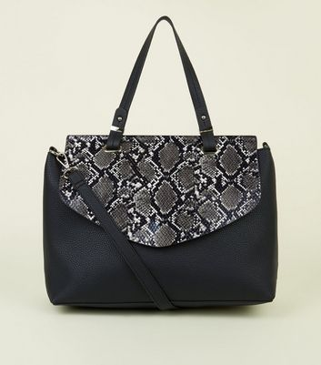 Black Faux Snakeskin Flap Leather-look Satchel