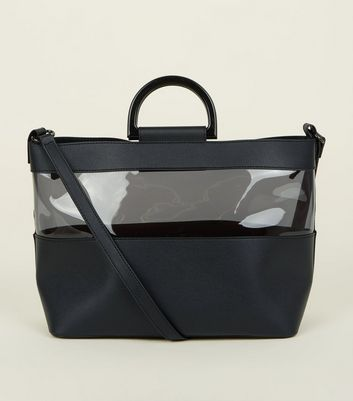 Black Clear Panel Plastic Handle Tote Bag