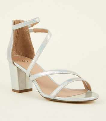 Girls Silver Holographic Strappy Block Heeks