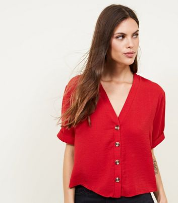 Red Herringbone Button Front Boxy Shirt