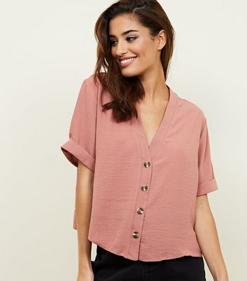 Mid Pink Herringbone Button Front Boxy Shirt