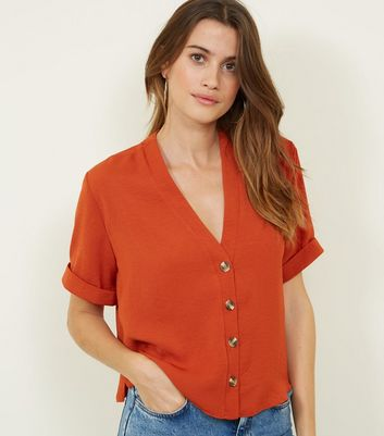 Orange Herringbone Button Front Boxy Shirt