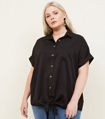 Curves Black Twill Tie Front Shirt