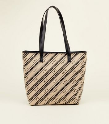 Black Diagonal Stripe Love Slogan Tote