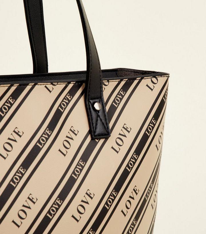 4c07da1ff1 Black Diagonal Stripe Love Slogan Tote | New Look