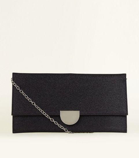 Black Glitter Metal Trim Clutch Bag