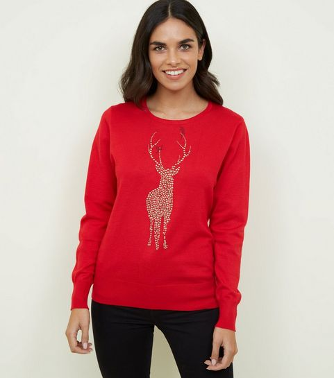 6ec3c36ce3a ... Mela Red Reindeer Studded Christmas Jumper ...