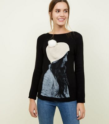 Mela Knit Black Beanie Graphic Jumper