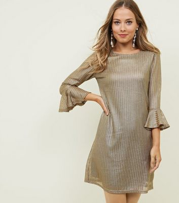 Mela Gold Textured Bell Sleeve Dress