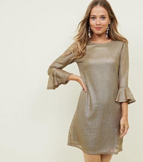 d104ed94850 ... Mela Gold Textured Bell Sleeve Dress ...