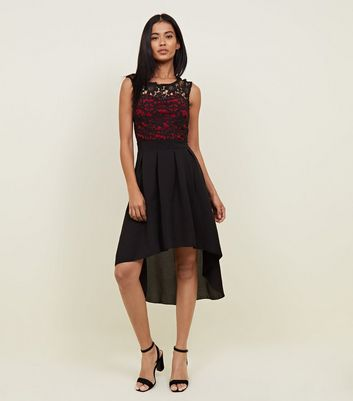 Mela Red and Black Contrast High Low Dress
