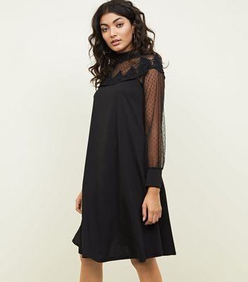 Mela Black Mesh Yoke and Sleeve Dress New Look