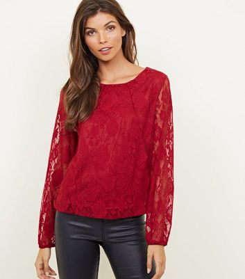 Mela Plum Lace Long Sleeve Blouse
