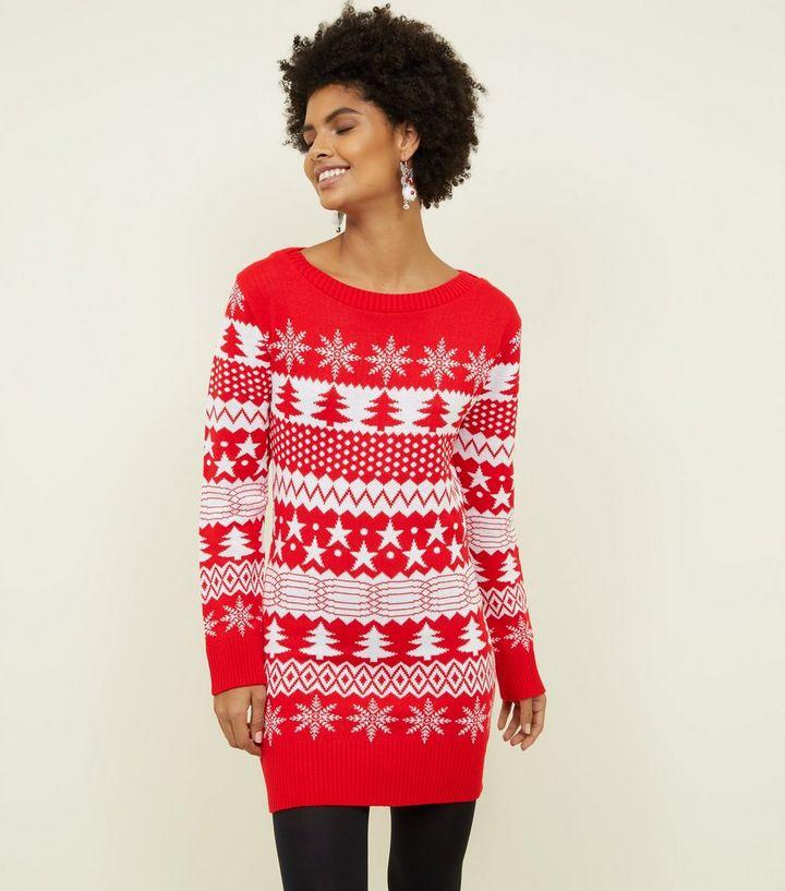 2e97b646054 Mela Red Fairisle Knit Longline Christmas Jumper