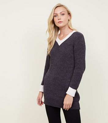 Mela Dark Grey Cricket Longline Jumper
