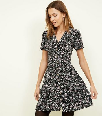 Black Ditsy Floral Button Through Tea Dress