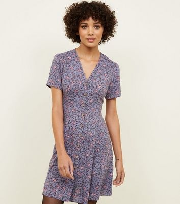 Purple Ditsy Floral Button Through Tea Dress