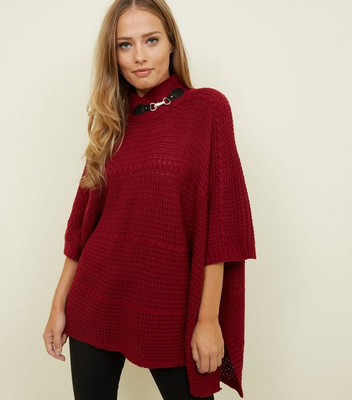 Mela Burgundy Buckle Neck Cable Knit Poncho Add to Saved Items Remove from  Saved Items