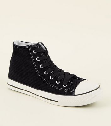 Black Corduroy High Top Trainers