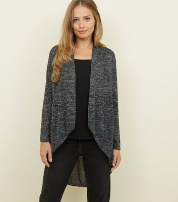 Mela Grey Fine Knit Waterfall Cardigan