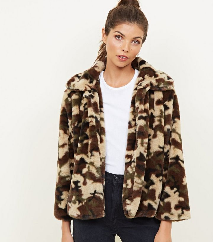 discount sale fashionable and attractive package discount collection Mela Green Camo Faux Fur Jacket Add to Saved Items Remove from Saved Items