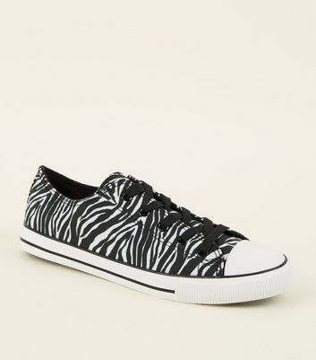 Black Canvas Zebra Print Lace Up Trainers