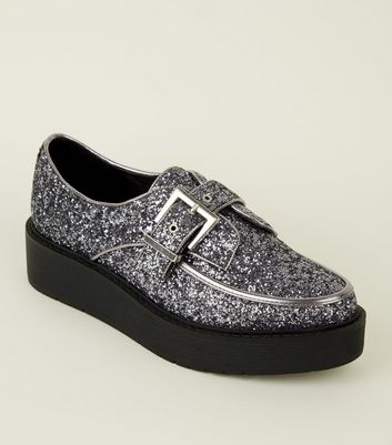 Pewter Glitter Buckle Strap Creepers