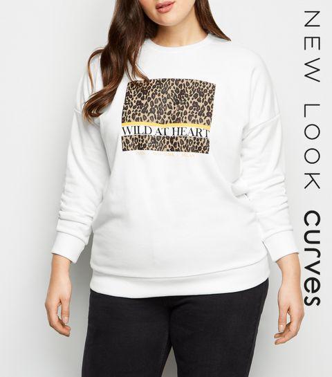 6b9aaebd5c0fe ... Curves White Leopard Print Wild Slogan Sweatshirt ...