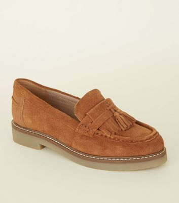Tan Suede Crepe Sole Loafers