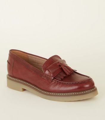 Burgundy Leather Chunky Tassel Loafers