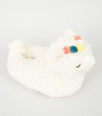 Off White Fluffy Llama Slippers