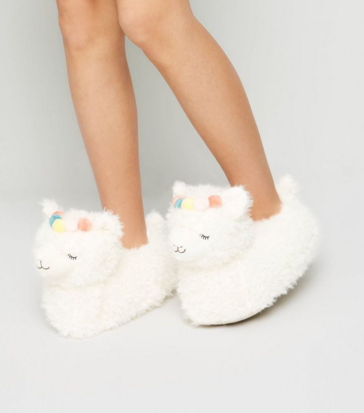 d193071119fa7 Off White Fluffy Llama Slippers Add to Saved Items Remove from Saved Items