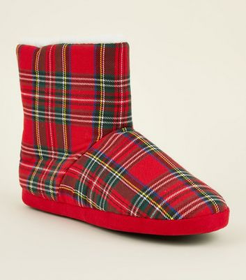 Red Tartan Check Slipper Boots