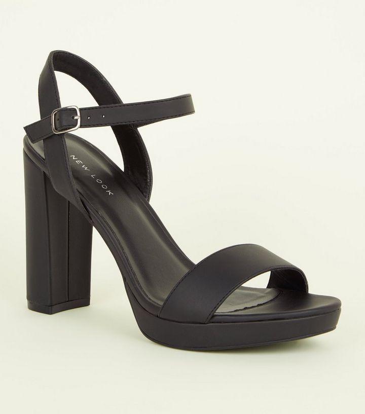 08f949f5841e Black Block Heel Platform Sandals