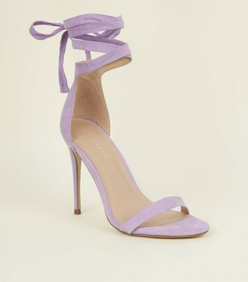 Lilac Suedette Wrap Strap Stiletto Heel Sandals
