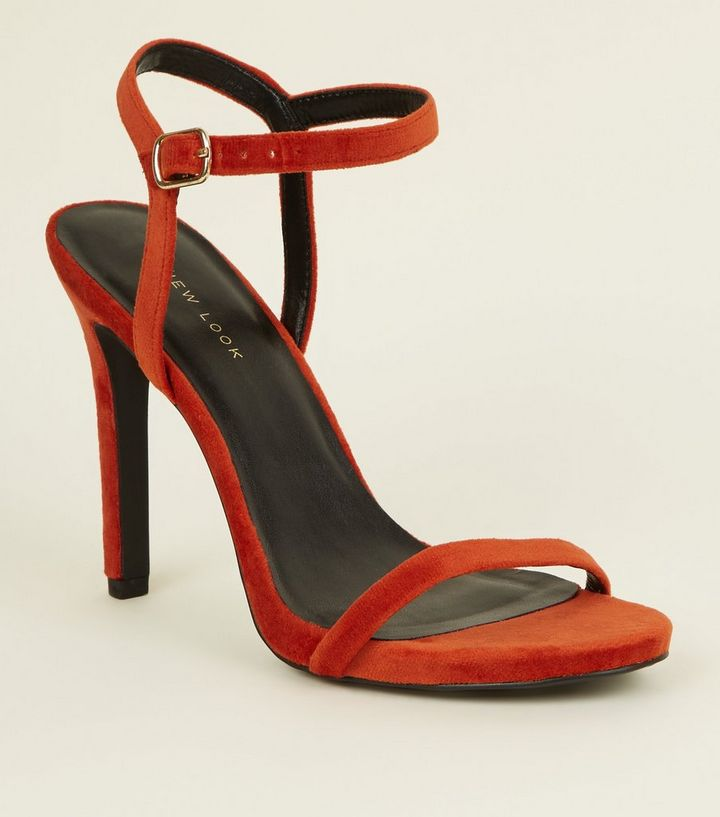de5cac17384 Bright Orange Velvet Stiletto Heel Sandals Add to Saved Items Remove from  Saved Items