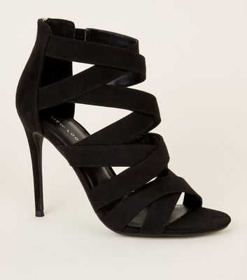 Black Strappy Suedette Stiletto Heels Shoes