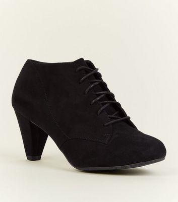 Girls Black Suedette Lace-Up Shoe Boots