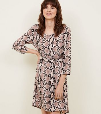 Brown Snake Print Belted Dip Hem Dress