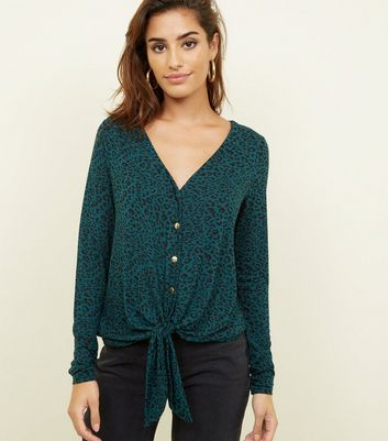 Dark Green Leopard Print Button Front Top