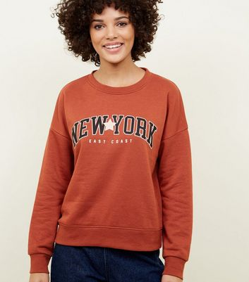 Rust New York Slogan Sweatshirt