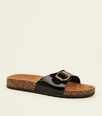 Black Leather Lined Footbed Sandals by New Look