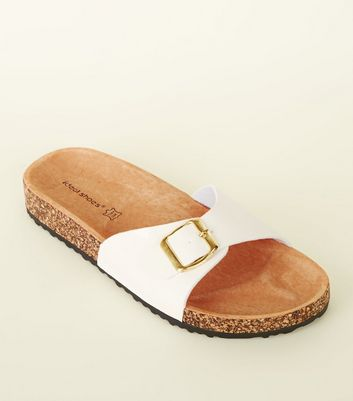 White Leather Lined Footbed Sandals