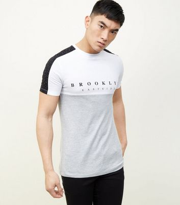 Grey Marl Colour Block Slogan Spray Sleeve T-Shirt