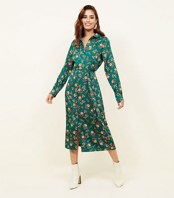 Blue Floral Twill Long Sleeve Midi Shirt Dress