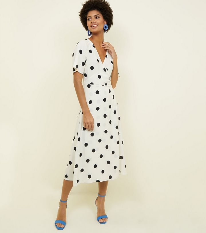 a3727b201b White Spot Print Wrap Front Midi Dress | New Look