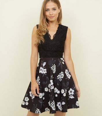 Mela Black Floral Lace Bodice Skater Dress