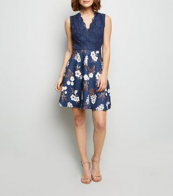 Mela Navy Floral Lace Bodice Skater Dress