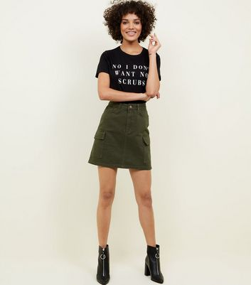 Tall Khaki Cargo Denim Mini Skirt
